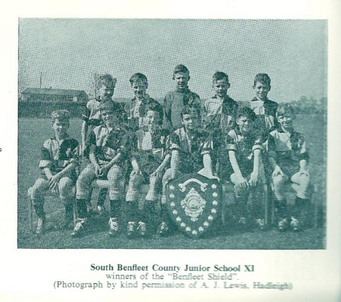 Winners of The Benfleet Shield 1958 -9, Benfleet County Junior School XI | A.J. Lewis Hadleigh taken from the South East Essex Primary Sports Association Handbook 1958 -59