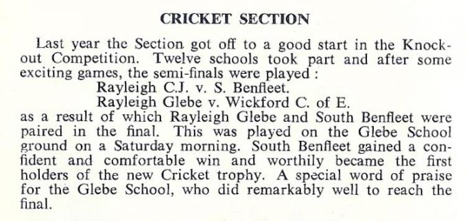 Benfleet Junior also won the cricket trophy. | South East Essex Primary Sports Association Handbook 1958 -59