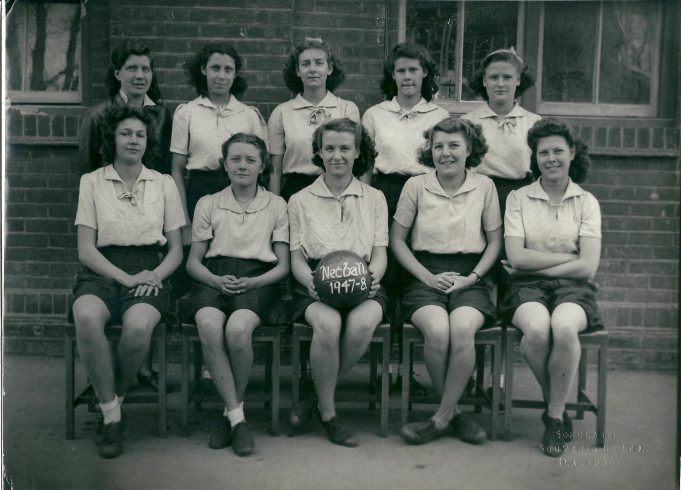 South Benfleet School Netball Team 1947 - 48.  From left to right at rear Miss Bass, Iris Nicholls, Iris? Clark (had a twin sister?), ? Pilgrim, Joan Baker.  Front row left to right , centre Valda Baker, Murial Price. | From the collection of Miss Bass