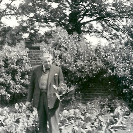 Harry Phillips in the garden at The Hoy, the pear trees on the back wall produced large pears, 1950's | Joan English (nee Phillips)