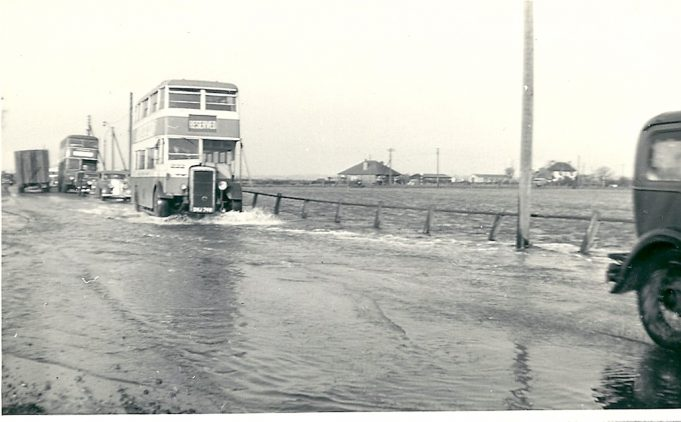 Traffic on Canvey Island shortly after the floods. | Joan English (nee Philips)