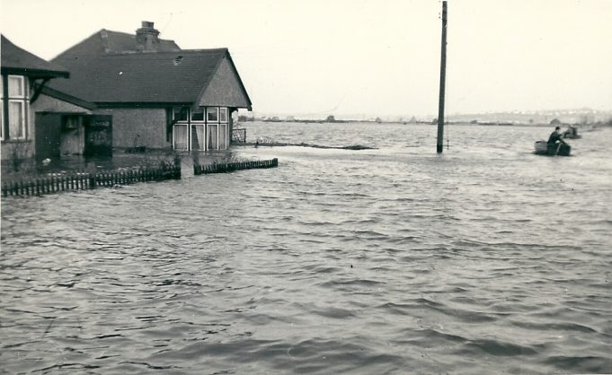 Looking towards Benfleet from New Road, Canvey Island, this bunglow is thought to be number 19.   This was the conditions that met the group. | From the collection of Joan English (nee Philips) source unknown.