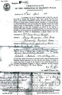Certificate of the Inspector of Seamen's Wills. | Philip Packham