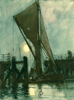Thames barge by moonlight going through the bridge at Benfleet Creek. Watercolour by Edward Wigful June 1933 | Reproduced with the permission of Paddy Marrison