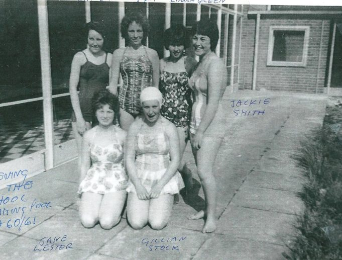 Taken on the opening day of the school swimming pool - 1960. Standing L to R:  Pat White, Ruth Seal, Laura Green, Jackie Smith. Kneeling down L to R: Jane Lester and Gillian Stock | Ann Morrison collection