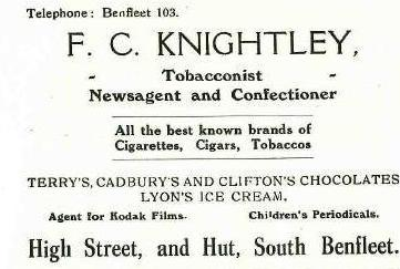 Shop 9 - Advert for F C Knightley, Newsagent | B.U.D.C.