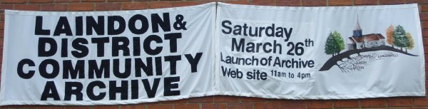 Archive Banner outside Laindon Library | Banner by Patsy Mott; Photo by Christine Coley
