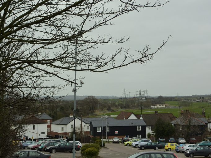 Photograph taken from a simular place  but March 2011.  The grass has been replaced by car park | Margaret March
