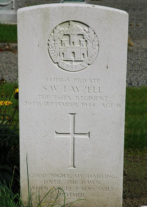 Grave of Stanley W. Layzell.  Lier Belgian Military Cemetery.  Belgium. | Copyright.  The War Graves Photographic Project.