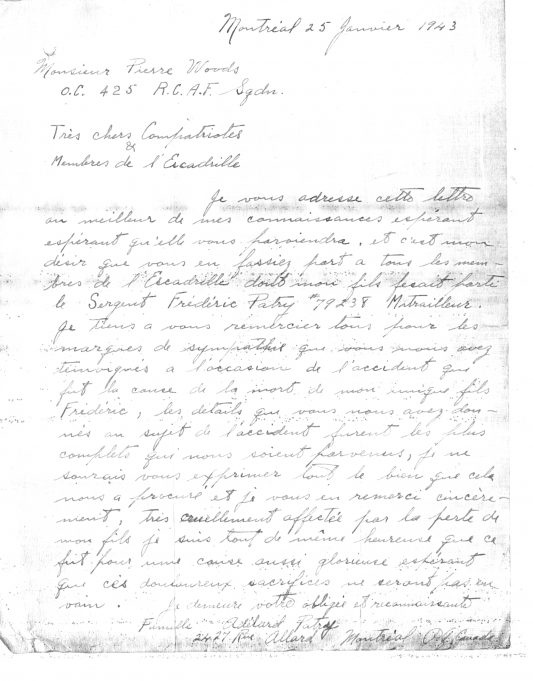 Letter (in French) from the family of Sgt Joseph Patry of Montreal | National Archives of Canada