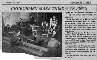 Newspaper report on the building of the pews. | Southend Newspapers
