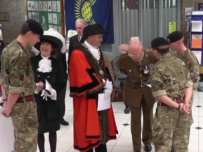 The High Sheriff of Essex, Mrs Lorna J Rolfe JP, The Mayor and Lieutenant Colonel Richard Dixon-Warren talking to the three Sappers from the Royal Engineers. | Christine Coley