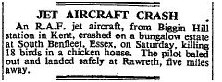 Jet Aircraft Crash | The Times 14th April 1952