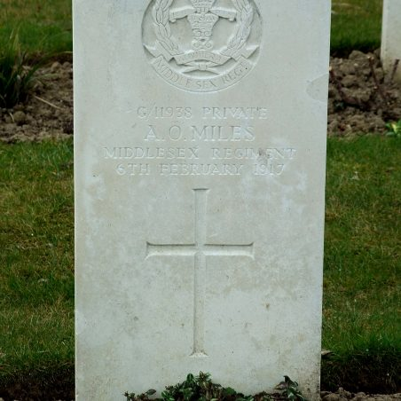 Grave of A. O. Miles. | Copyright.  The War Graves Photographic Project.