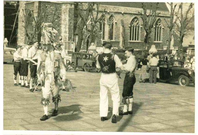Westminster Morris Tour, near The Abbey - Musicians - Jim English and Brian Conner | From the collection of Joan English nee Phillips