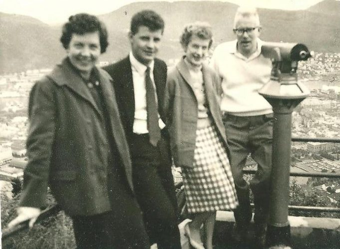 On a School trip - L to R : Mrs Lawes, Bill Langloise, Mrs Evans, Mr Evans c.1959 | Ann Morrison collection