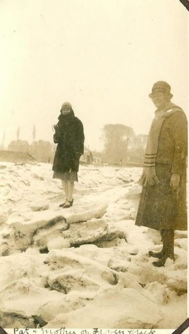 Mrs Fisher on a frozen Church Creek, believed to be 1930's, the same trees and houses can be seen in the background as in the picture above. | From the collection of the late Kath Fisher with the permission of Paddy Marrisson