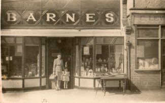 Mrs. Yvonne Barnes and Jackie standing in the shop doorway | Jackie Barnes