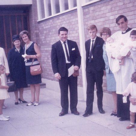New priest at the Osborne's Christening 1963