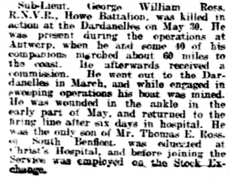 Newspaper Report about GW Ross | Chelmsford Chronicle, Friday 18th June 1915