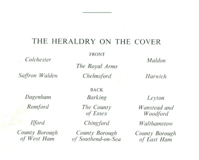 Key to the heraldry on the cover | County Council of Essex