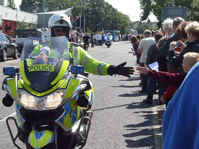Motorbike Police high-fiving people | Jenny Day