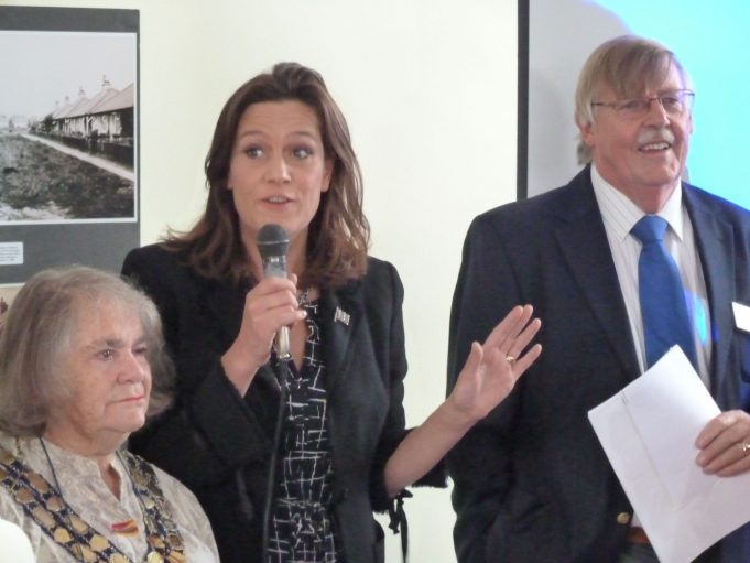 Rebecca Harris MP speaking at the launch, with CPBC Mayor Mrs Jackie Govier on the left and Roy Swanston HLF representative on the right | Phil Coley