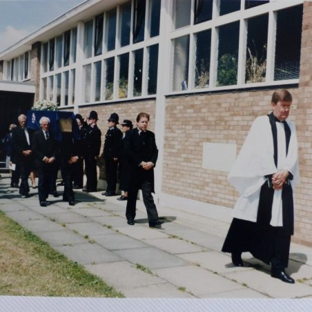 The Rev. John Kemp 1996. Police Guard of Honour at the funeral of DC. March, which was attended by the Chief Constable of Essex Police, John H. Burrow CBE.