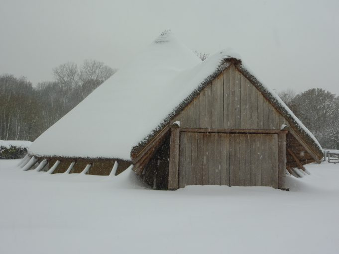 A snowy roundhouse at Hadleigh Country Park. | Margaret March