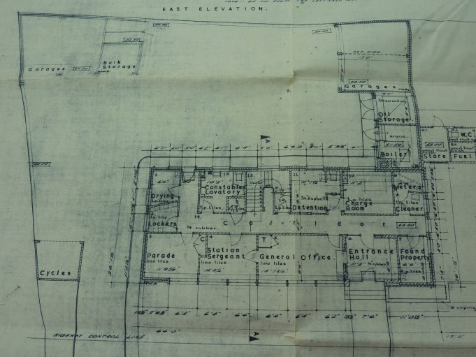 Original plans of Benfleet Police Station High Road.  The parade room was on the first floor above the oil storage and garage area. | Essex Police