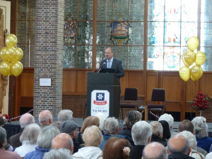 Jonathan Catton, Heritage and Museums Officer delivering a talk on the history of Tilbury Town to a packed audience | Phil Coley