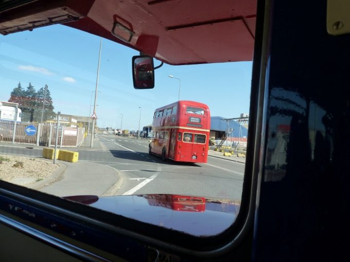 The other Routemaster bus seen from the first one in Tilbury Port.   Phil Coley