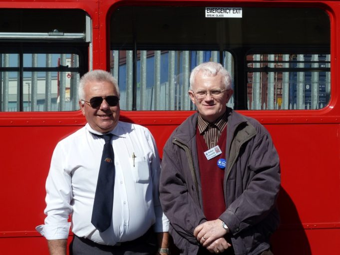 The bus Driver and Phil Coley against one of the Routemaster busses.   Christine Coley