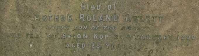 Headstone section showing the details of Arthur Rowland Ablett. | Ronnie Pigram