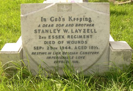 In Memory of Stanley William Layzell.  1944 Casualty.