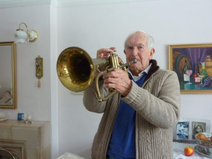 Peter Freeman in 2013 with his German flugelhorn. | Margaret March
