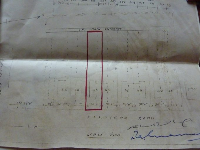 Plan for building plots in Felstead Road, taken from property deeds of number 50.  This document is not dated but it is much later the houses were built in the 1950s, by which time the road is called Felstead. | Joan Dean.