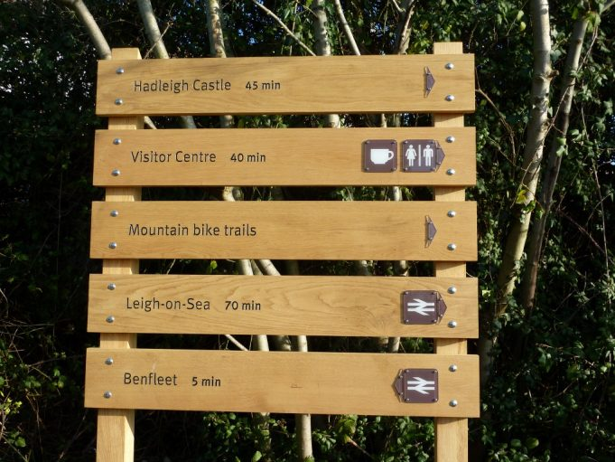 New signs indicate the new paths, soon there will be a visitors centre at Hadleigh. | Margaret March