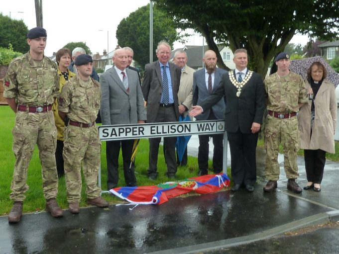 Front row shows two members of the Royal Engineers, Len Hawkins, Cllr. Tom Skipp, Richard Dove, The Mayar, another member of the  RE, and the Mayor's Chaplain. | Phil Coley