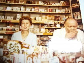 Inside the newsagents shop, Kathleen Jeanetta Bird (the author's mother) and Edward Martin Sheppard (the author's uncle) | Pamela-Jeanetta Bird Gaines