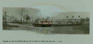 Composite view from two postcards. Facing west at bottom of Essex Way, main hill. c.1910