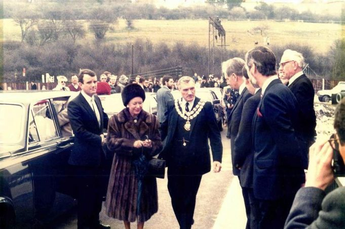 Her Royal Highness the Princess Margaret, Countess of Snowdon, accompanied by the Chairman of the Council, Councillor F.P. Wood, inspecting the new Tidal Defence Barrier at Benfleet Creek, during her visit to Castle Point on Thursday, 5th April, 1984. | With thanks to Castle Point Council