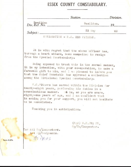 Letter informing staff of the retirement of PC Pithers from the specials around 80 years of age. | Edgar John Davis
