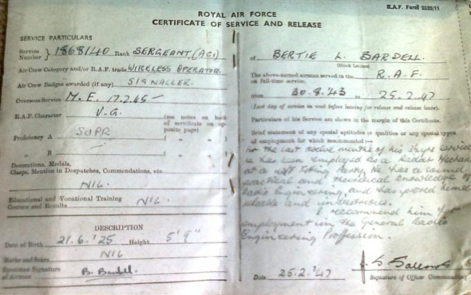 It was 1947 before Bertie Bardell was released from the R A F, and this is a copy of his release papers. | Bertie Bardell