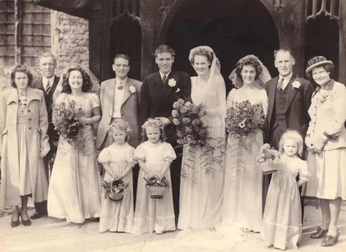 Left to right: Lillian and George Jeffs snr. Ruth Edwards, George Jeffs, Ron and Peggy, Joy Eason, Frederick and Louisa Eason. Young bridesmaids - left to right: June, Joan and Carol. | Denise Neale