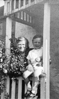 Susan Sumner, Allan's Grandmother, holding Allan Gaines on the porch of 'Surene' | Pamela-Jeanetta Bird Gaines