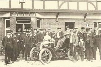 The gentleman (marked with an arrow) on the right of this picture is Mr R. Francis, the first Chairman of The Society in 1920. May Land is in the white blouse. The driver is Mr Jones from Hadleigh woodyard. 4th from left is Kiff Layzell. 12th from left is Dick Alderton. Extreme right is Fred Knightley and the young lad is Fred Killingback.