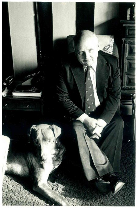 Portrait Photo of Douglas Acres and his beloved pet dog. | Radio Times