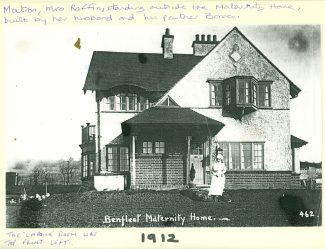 Ray View in 1912 - Mrs Raffin, the matron, standing in front of the Maternity Home | Tony Doveaston
