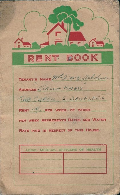 Rent book for the house boat 'Stella Maris', the rent was 10 shillings a week.  The owner A. Clarke of Rose Cottage, 12 Essex way, South Benfleet.  Tenant Mr A. Ashdown who rented this boat for 6 months from 17th  March 1945 to 22nd September 1945 | Jill Ashdown